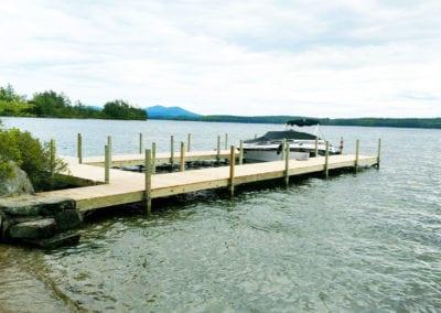 boat on 2 pine docks